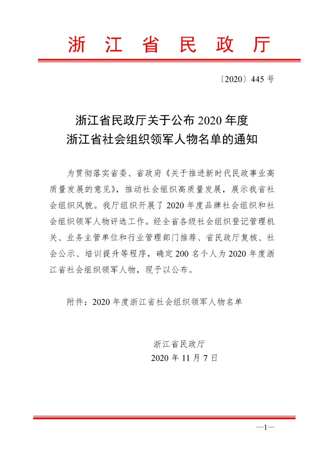 2020年度浙江省社会组织领军人物